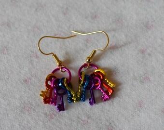 Rainbow key earrings
