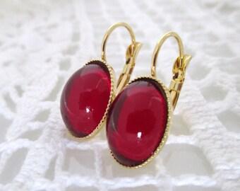 Red Gold Dangle Earrings Everyday Earrings Red Gold Earrings Oval Earrings Crystal Earrings Valentine's Gift Valentine's Love Earrings