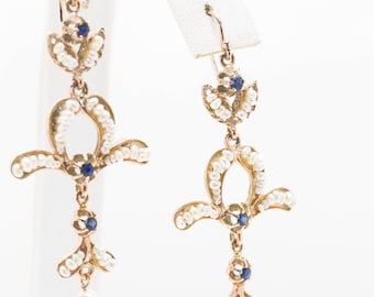 Antique Italian Blue Sapphire and Seed Pearl Hook Earrings 15k