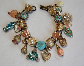 Charm Bracelet in Peach, Pink, Turquoise and Pearl from Reworked Vintage Jewelry