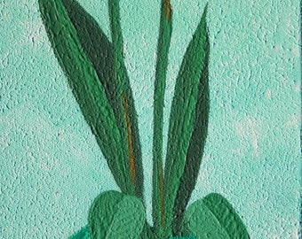 Birds of Paradise Painting, Textured Painting, Potted Plant, Tropical Flower Art, Green, Orange, Inspirational Art, Home Decor, Office Decor
