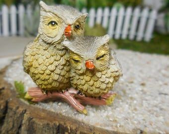 garden animals. Fairy Garden Animals, Owl Family ~ Miniature Momma With Baby Animal For Fairies Animals