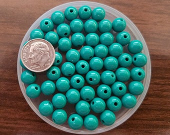 100 Teal Green Acrylic Beads 8MM round (H2447)