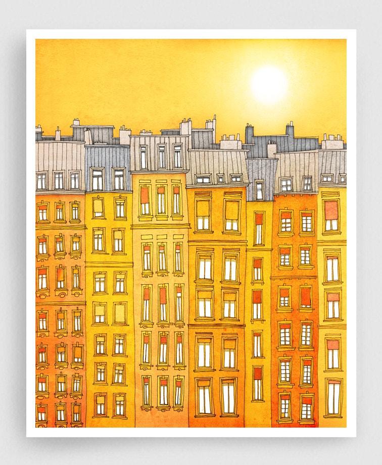 Yellow facade Paris illustration Art Print Poster Home decor