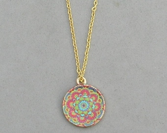 Red Flower Mandala Necklace