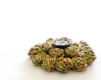 Flower Crochet Brooch Golden Brooch Coconut Button