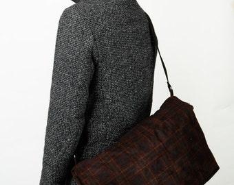 Dark  Messenger Bag with Adjustable Straps - Dundee Vegan Messenger Checkered Velvet