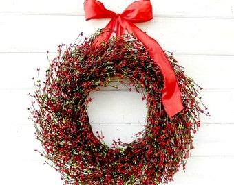 Christmas Wreath-Christmas Door Wreath-Holiday Wreath-RED & GREEN Wreath-Christmas Home Decor-Scented Wreaths-Custom Gifts-Holiday Decor