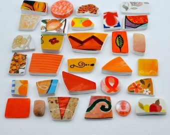 Broken China Mosaic Tiles - Orange - Assortment - Cabochon Collection - Set of 30