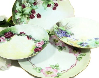 Four Antique Mixed Hand Painted Plates Luncheon and Dessert