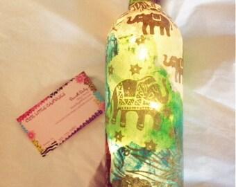 NEW Wine Bottle Light Custom Order, Wine Bottle Lamp, Lit Wine Bottle, Decoupage Lamp, Lokta Paper, Decorative Wine Bottle