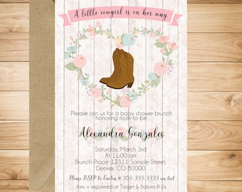Cowgirl Baby Shower Party Invitation  - Rustic, floral, pink, cowgirl boots, lace and wood
