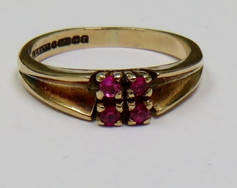 Vintage 1960's 9ct Yellow Gold and Ruby ring Size O UK Size 7.5 USA Fully Hallmarked Birmingham UK