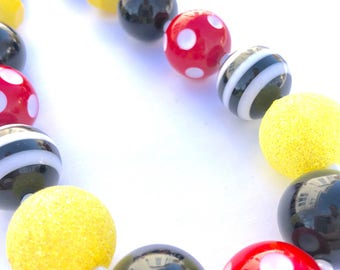 Black red and yellow girls bead necklace. Princess. Minnie inspired. Gift for girls. Bubblegum necklace. Mouse inspired. Glitter  jewelry.