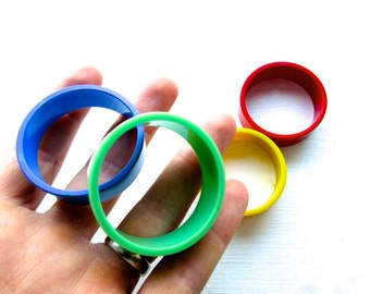 Vintage Mid Century Multi-Coloured Napkin Rings
