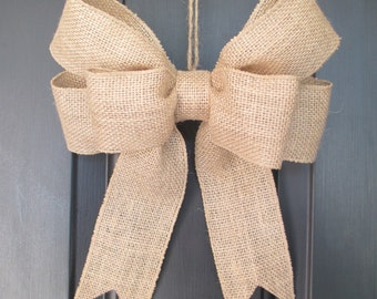 Rustic Burlap Bow | Home Wedding Pew | Burlap Wreath Bow | Christmas Decorations | Christmas Tree Topper