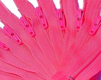 "4""-22"" YKK Zipper #3 Skirt & Dress Zippers Color Neon PINK (10 Zippers / Pack)~ZipperStop Wholesale Authorized Distributor YKK®"