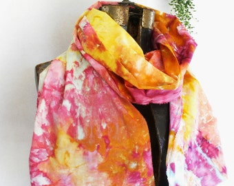 Coral Pink Peach Gold Ice Dyed Cotton Voile Scarf 15x72 Hand Dyed Cotton Gauze Ranunculus slim2