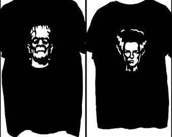 Halloween Couples Frankenstein & Bride of Frankenstein Painted T Shirts