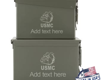 USMC Bulldog  Custom Engraved 30 / 50 Cal Ammo Can Personalized Dad Gift, Cool Guy Gifts Father's Day Gift, Grandpa Gift,Groomsmen