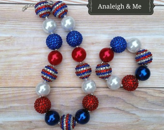Toddler 4th of July Necklace,  4th of July Baby Necklace, Fourth of July Chunky Necklace,  Fourth of July Baby Necklace, Toddler 4th of