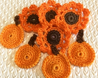 Fall Crochet Flowers & Pumpkin Set, crochet Appliqués, Orange and brown flowers, pumpkins