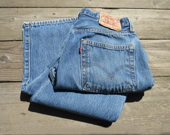 90s Levis 501/  31 / MEDIUM  / Button Fly / Natural Fade Distress / Classic Straight Leg  Jeans Tag Size 32 x 30