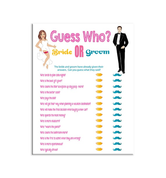 Guess Who Shower Game Bridal Shower Game Bride And Groom