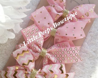 "Set of 4 4"" Ribbon Hair Bows, Hair Clip, Hair Slides, Hair Accessories, Hair Bow Gift Set, Hair Grips, Pink, Gold & White Bows"