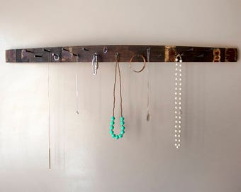 Napa Valley Wine Barrel Stave - Jewelry Holder // rustic wall mounted organizer // display // necklace bracelet holder