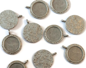 Piece of Tin round pendant textured for making jewelry LoB-58 (10 pieces)