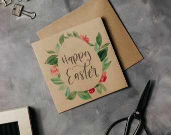 Happy Easter-Watercolor painted map with envelope for Easter