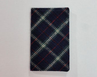 Blue Plaid Flannel Mini Wallet
