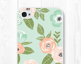Floral iPhone 7 Case iPhone 8 Case Phone Case Floral iPhone SE Case Mint iPhone 6 Case Floral Samsung Galaxy S6 Case Floral iPhone 6+ Case
