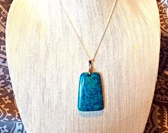 """Beautiful Unique Grass Turquoise Sterling Silver Pendant Necklace - Sterling Silver 18"""" Chain - Natural Stone Necklace - Agate -  TURQUOISE"""