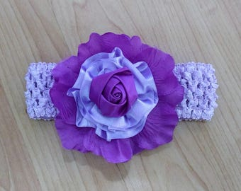 Baby Girl Headband, Flower Headband, Baby Headband, Baby Hair Accessory, Purple Headband, Rose Headband, Little Girl Headband