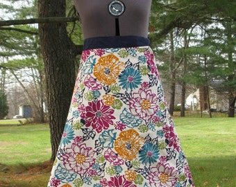 Wrap Skirt Reversible Deep floral with Navy