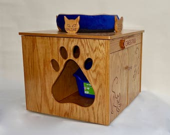 Cat Paw Litter Box Cabinet with Cat Bed and Personolized Name Option