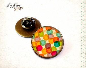Pine • Pop seventies color Cabochon round geometry retro yellow orange green glass