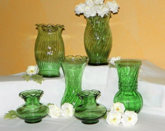 6 Light Green Vases