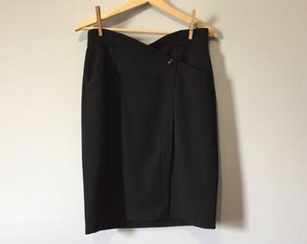 80s Thierry Mugler black snap front pencil skirt with pockets