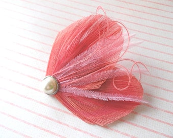 DREAM in Coral and Pink Peacock Feather Hair Clip, Feather Fascinator