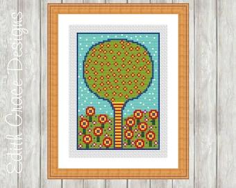 Cross Stitch Pattern Tree - Folk Art - Embroidery Design - Modern Cross Stitch Pattern - Counted Cross Stitch Pattern - Floral Art - Flowers