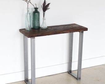 Live Edge Reclaimed Console Table / Industrial Live Edge Console Table