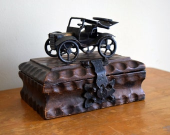 Small unique handcrafted vintage wood box w/ornate metal car - Steampunk, Industrial, Urban