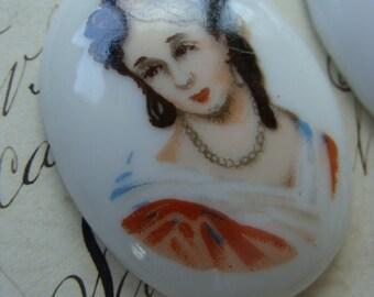 2 Vintage Edwardian Limoges Porcelain Victorian Portrait Cameos