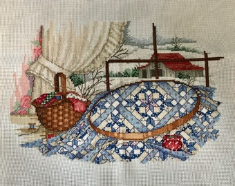 Completed finished cross stitch, January quilt, Paula Vaughan