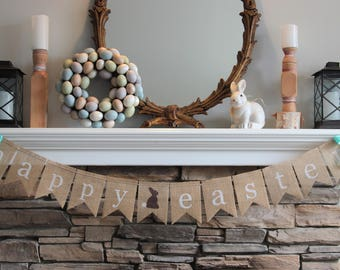 Ready to ship/Easter banner/Burlap Banner/Easter decorations/Farmhouse decor/Easter bunny/Easter Decor/bunting/banner/shabby chic decor