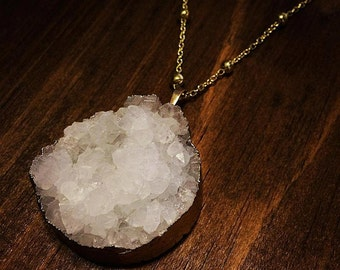 Juliet Quartz & Yellow Gold Pendant Necklace. Choose Chain Length. FAST Shipping w/Tracking for US Buyers. Will Arrive in Gift Box w/Ribbon.