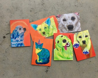 Cards  A series of 6 fine art cards, hand signed.  gift petcare dogwalker doggy daycare dog lover canine colorful dogs thank you